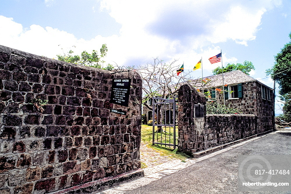 Birthplace of Alexander Hamiliton of USA in Charlestown in small remote island of Nevis Caribbean