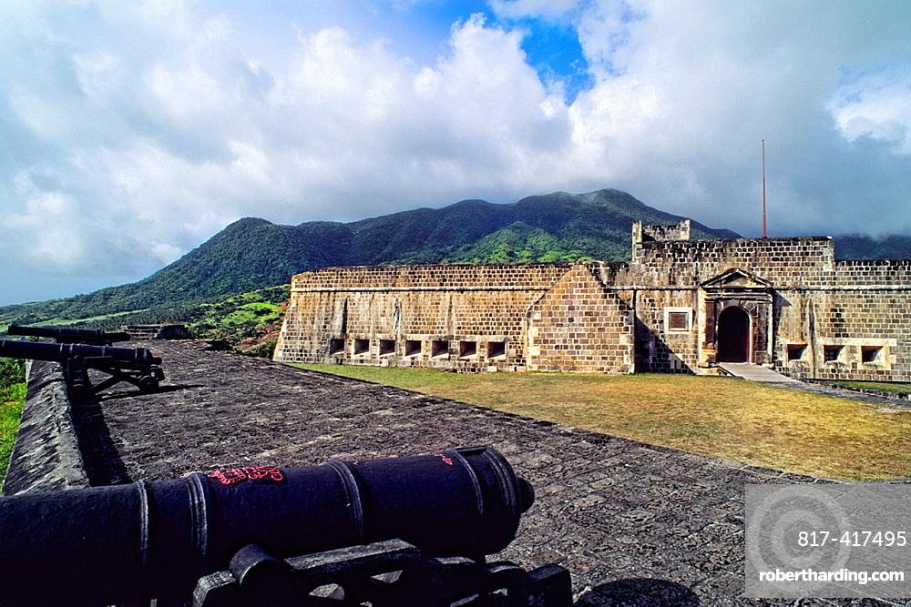 Famous Brimestone Hill Fortress in color in St Kitts USVI