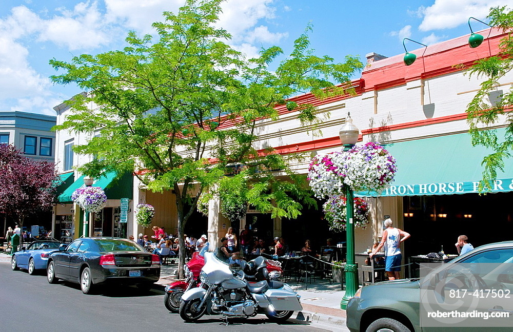 Downtown center of city on Sherman Avenue or Main Street in Coeur D Alene Idaho
