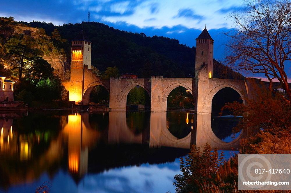 Cahors, Valentre bridge, Pont Valentre at Dusk, Lot River, Lot departament, Quercy, Via Podiensis, Way of St James, France