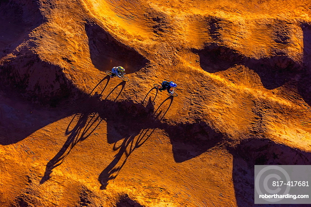 Aerial view of riders on a BMX bicycle motocross course, Albuquerque, New Mexico USA