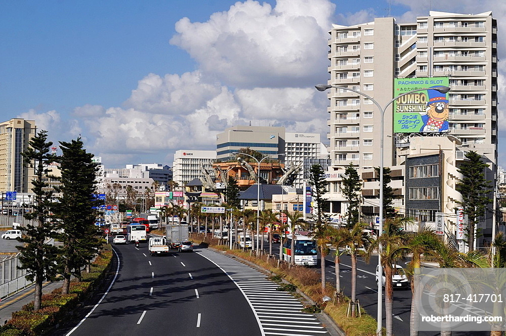 Naha, Okinawa, Japan, view of the city by the port