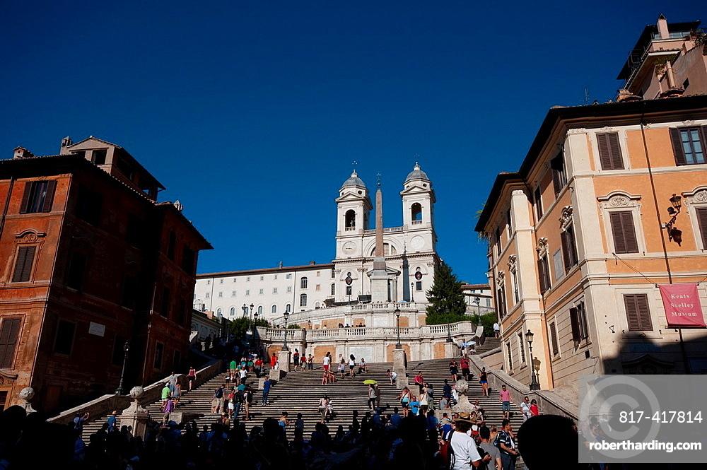 Italy, Lazio, Rome, Piazza di Spagna Square, Trinita dei Monti Church