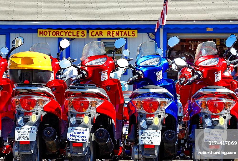 Moped rentals, Oak Bluffs, Martha¥s Vineyard, Massachusetts, USA