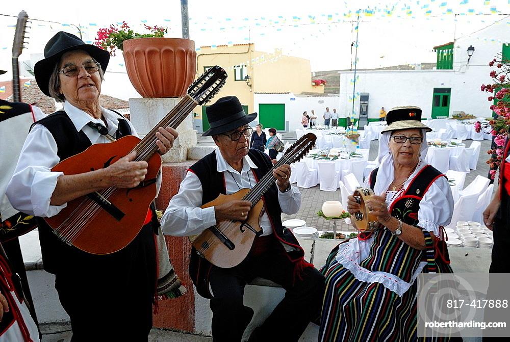 Musicians during local fair at the village of Arico, Tenerife, Canary Islands, Atlantic Ocean