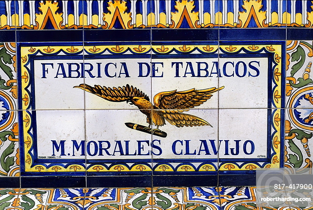 Advertising ceramics adorning bench on the Plaza de los Patos at Santa Cruz, Tenerife, Canary Islands, Atlantic Ocean