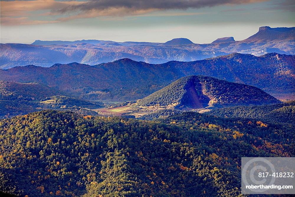 On balloon over Garrotxa Natural Park,at right Croscat volcano,Girona province, Catalonia, Spain