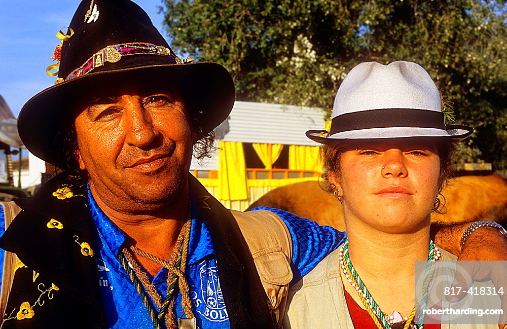 Pilgrims, Juan Palacios with his daughter in Donana Palace,Romeria del Rocio, pilgrims on their way through the Donana National Park, pilgrimage of Sanlucar de Barrameda brotherhood, to El Rocio, Almonte, Huelva province, Andalucia