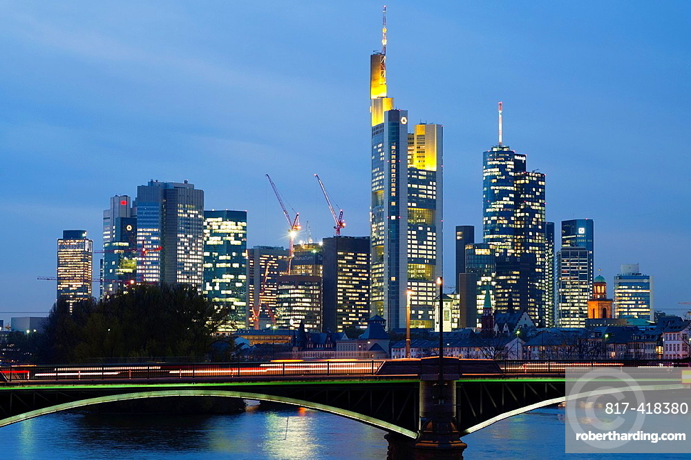 Evening view of skyline of Frankfurt financial district in Germany