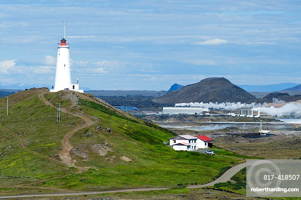 Lighthouse in Reykjanesta coastal area, Iceland