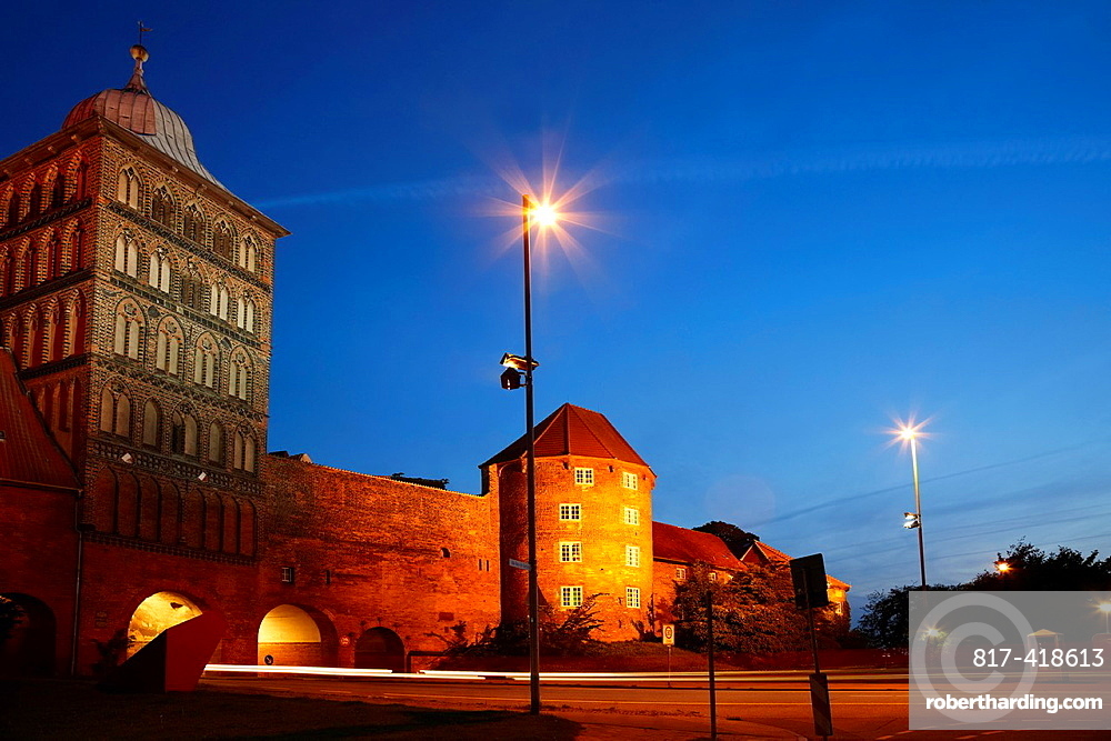 Burgtor, Castle gate in the evening, Luebeck, Schleswig-Holstein, Hamburg, Germany