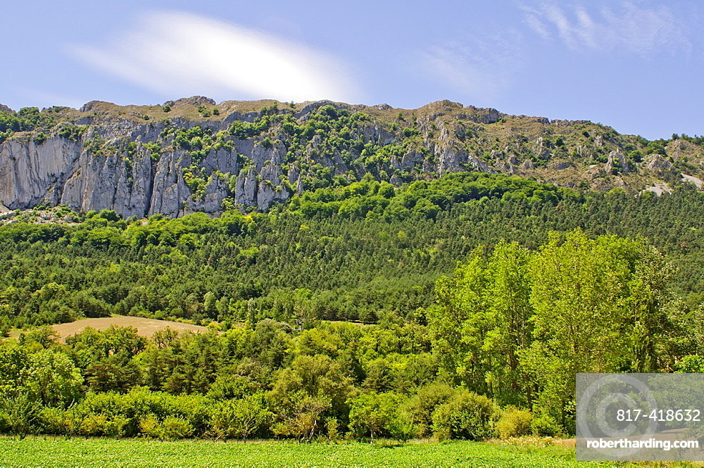 Montain & valley landscape at the Montes Obarenes Natural Park, Burgos, Castilla y Leon, Spain