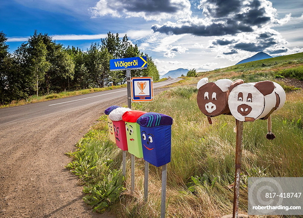 Decorated mailboxes, Northern Iceland