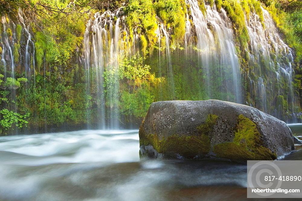 Evening warm light at Mossbrae Falls, Shasta National Forest, California, USA