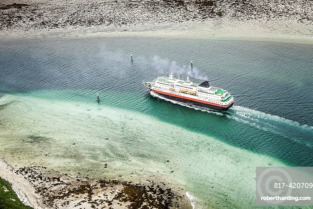 Cruise ship in glacial waters, Norwegian Coast