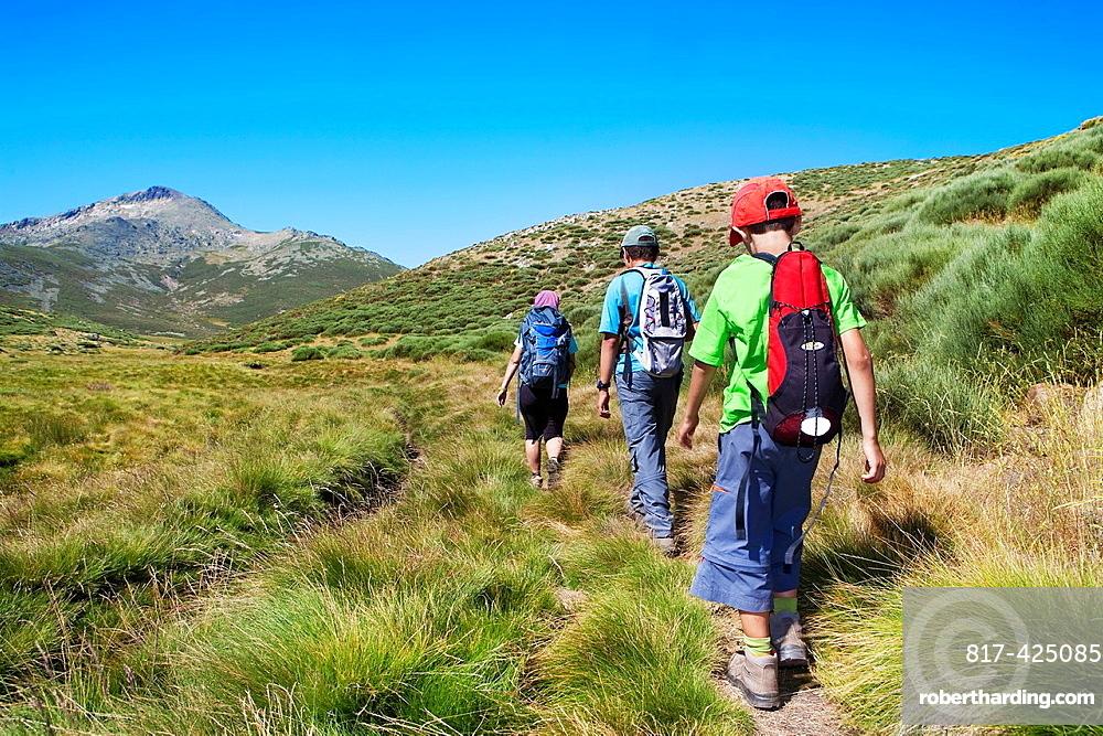 Mountaineers walking in Sierra de Gredos Regional Park, Â¡vila Castilla y Leon Spain