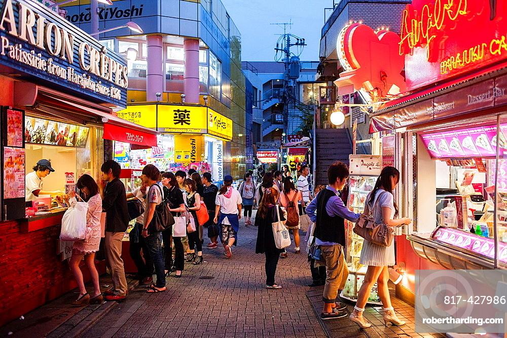 Street scene in Takeshita Dori Tokyo city, Japan, Asia