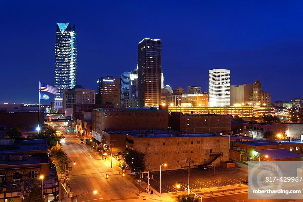 USA, Oklahoma, Oklahoma City, elevated view of the skyline from Bricktown, dawn
