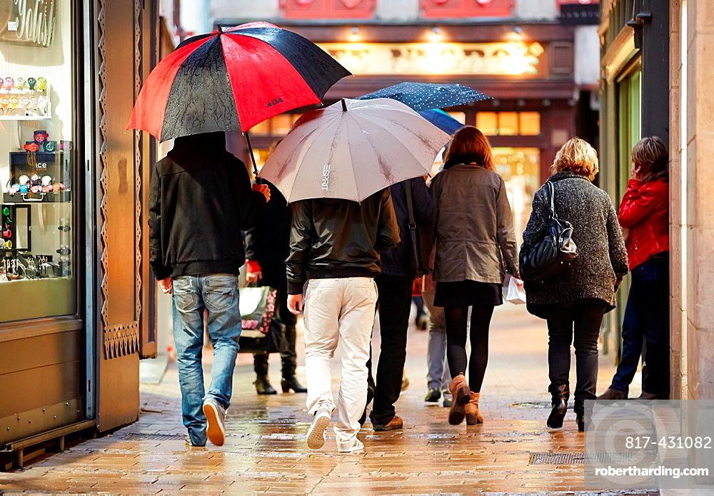Rain, Bayonne, Aquitaine, Pyrenees-Atlantiques, Basque country, 64, France.