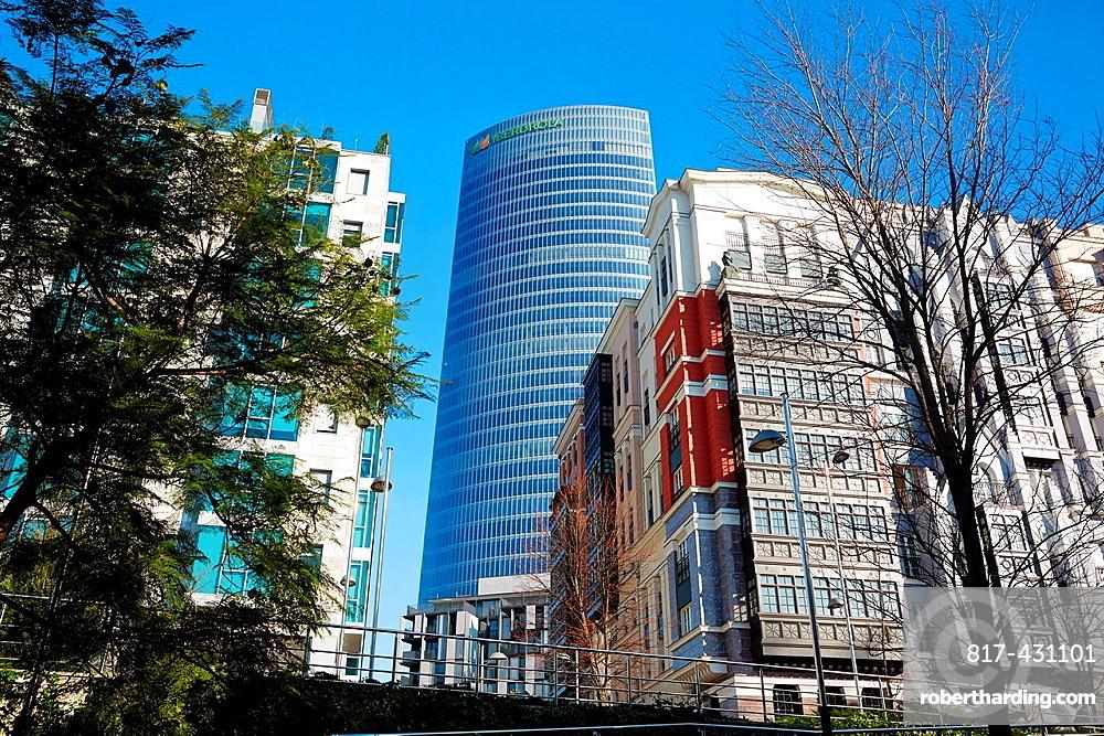 Dona Casilda Park, Iberdrola Tower, Bilbao, Bizkaia, Basque Country, Spain.