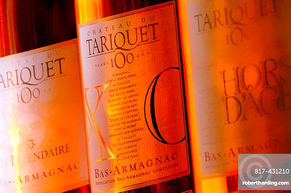 Le Legendaire', 'X O ' and 'Hors d'Age' armagnacs from the Tariquet Wines and Armagnac Estate, Eauze, Gers, Midi-Pyrenees, France