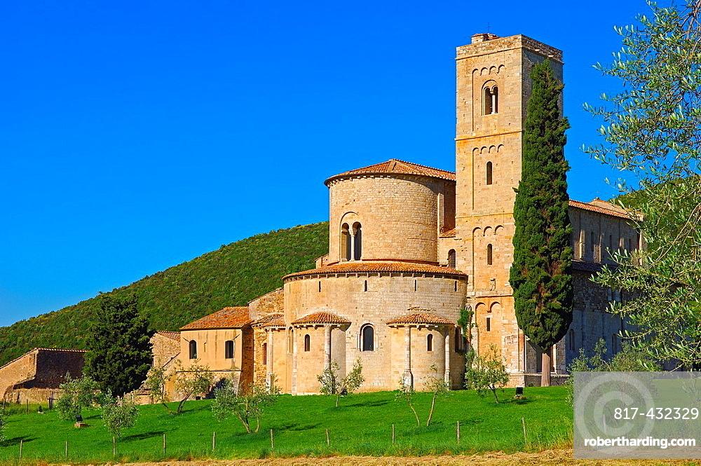 Sant Antimo, Montalcino, Castelnuovo dell'abate, Tuscany landscape, Siena Province, Tuscany, Italy