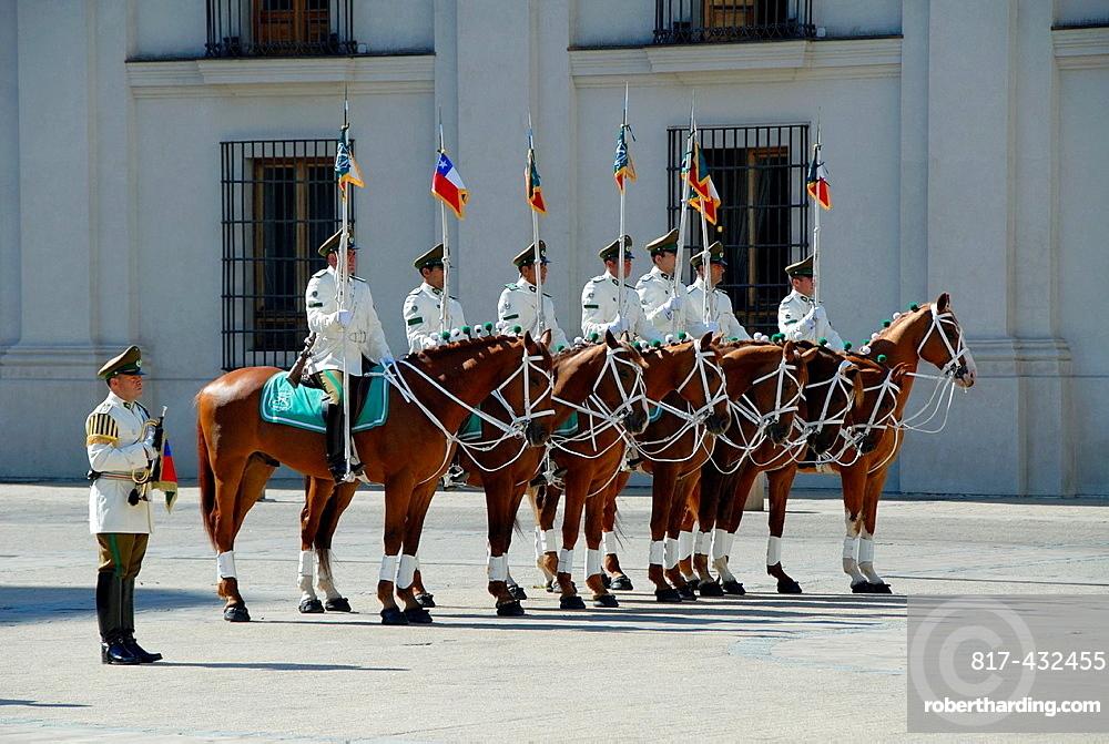 Guards at La Moneda Palace in Santiago, Chile