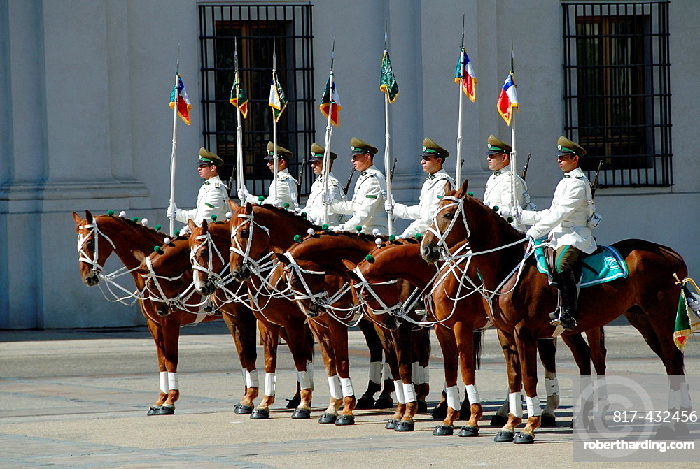 Guards at La Moneda Palace in Santiago, Chile
