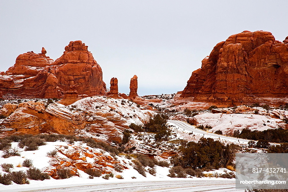 Moab, Utah, Arches National Park in winter