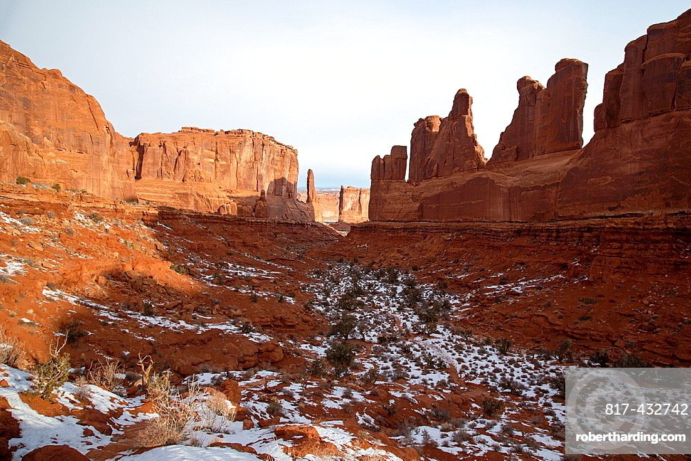 Moab, Utah, The rock-walled valley known as Park Avenue in Arches National Park in winter
