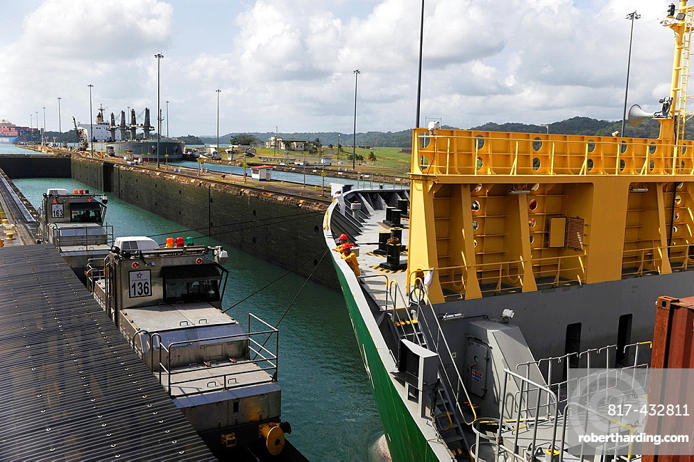 Container-Ship Crossing The Panama Canal Gatun Locks, Republic Of Panama, Central America