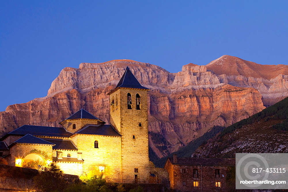 Torla and the mountains of the National Park of Ordesa and Monte Perdido, Huesca, Spain