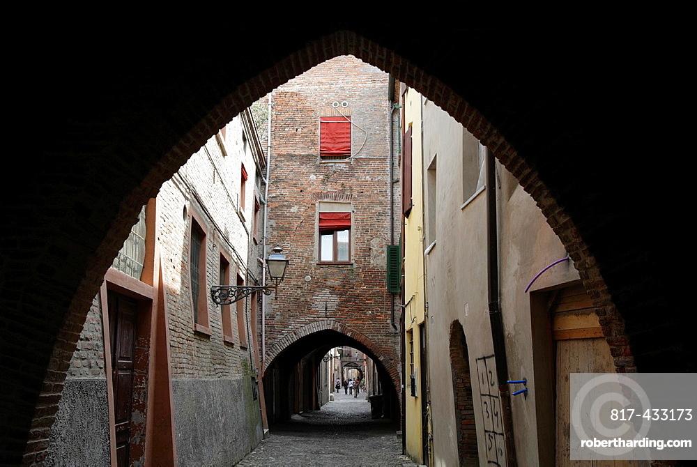 The medieval Via delle Volte, Ferrara, Italy