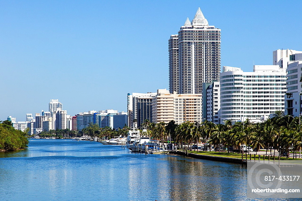 Miami Beach Hotels as seen from 41st Street, USA