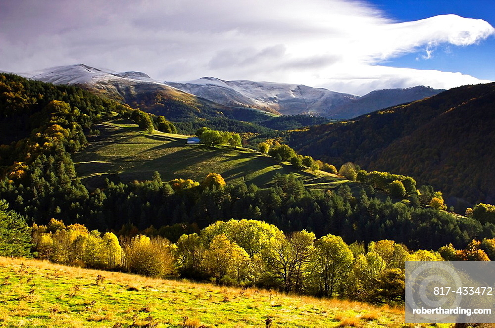 Larrau mountain pass in autumn, Salazar Valley, Pyrenees, Navarra, Spain, Europe