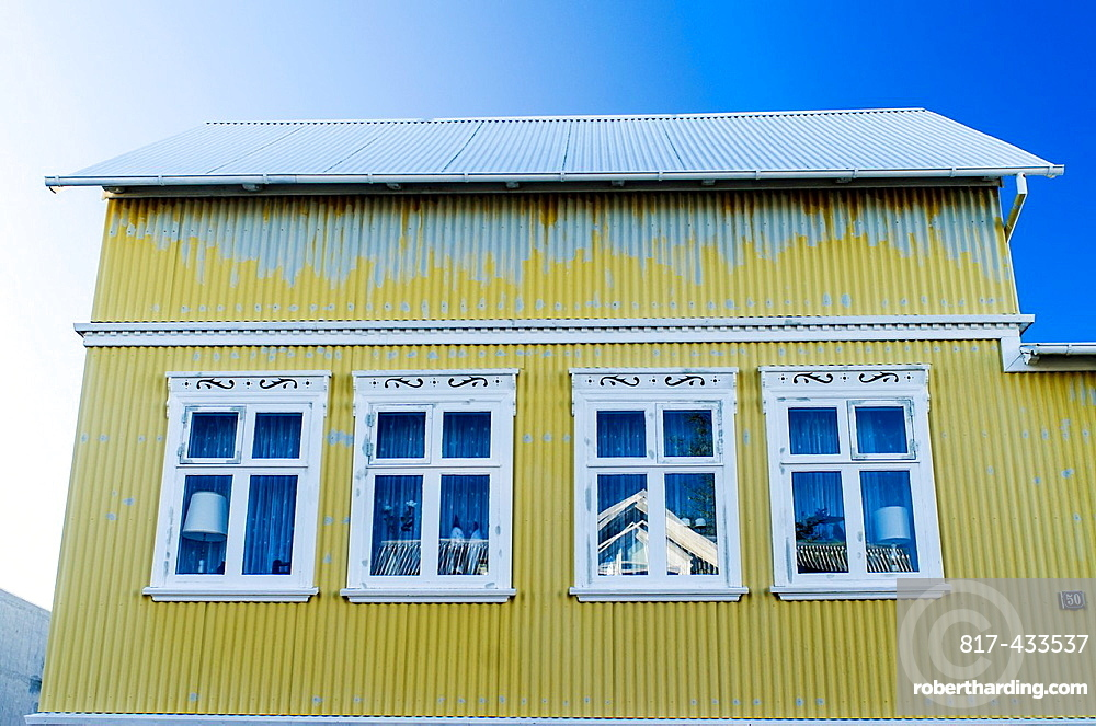 Colourful architecture and buildings of Reykjavik city centre Iceland