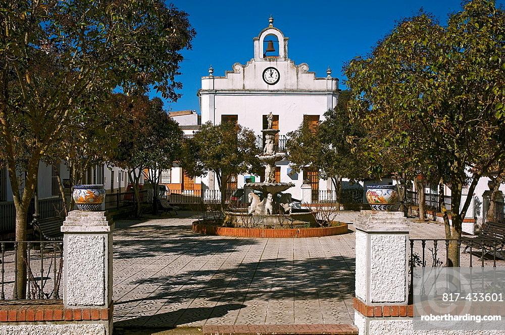 Square and library, La Nava, Huelva-province, Spain,