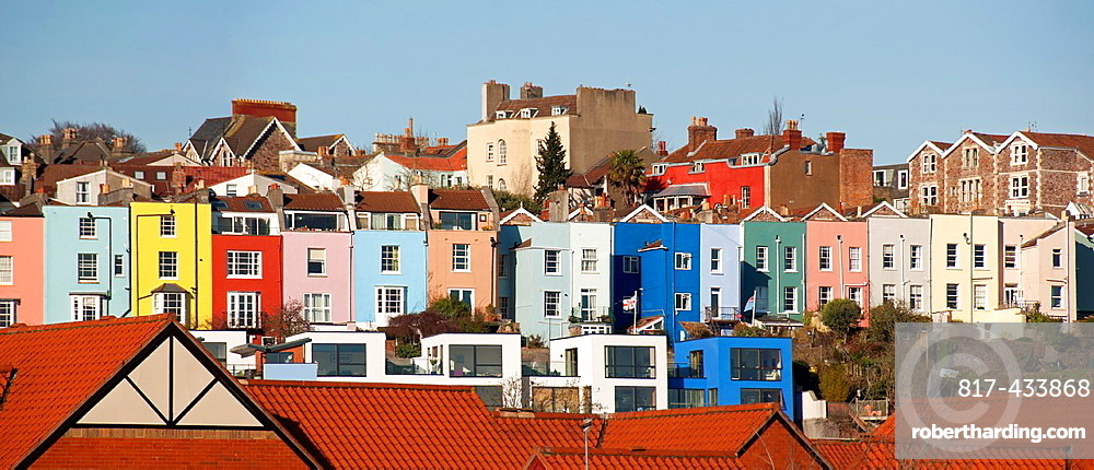 Row of colourful houses close to the harbour, cityscape of Bristol , Bristol, England, United Kingdom, UK