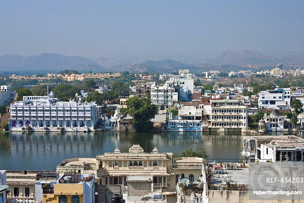 Lakeside Buildings, from Lake Pichola, Udaipur, Rajasthan, India