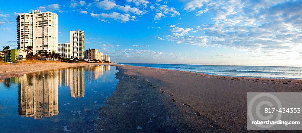 Beach Reflections Panoramic Composite Image, Lauderdale-by-the-Sea, Florida USA