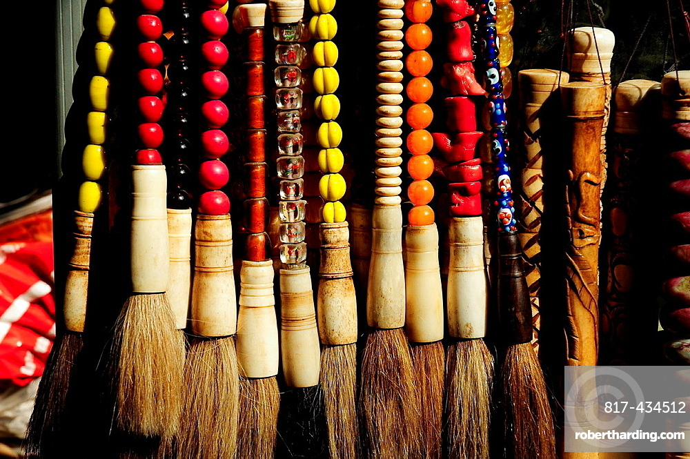 Brushes in an Antique shop, Luilichang street, Beijing, China, Asia