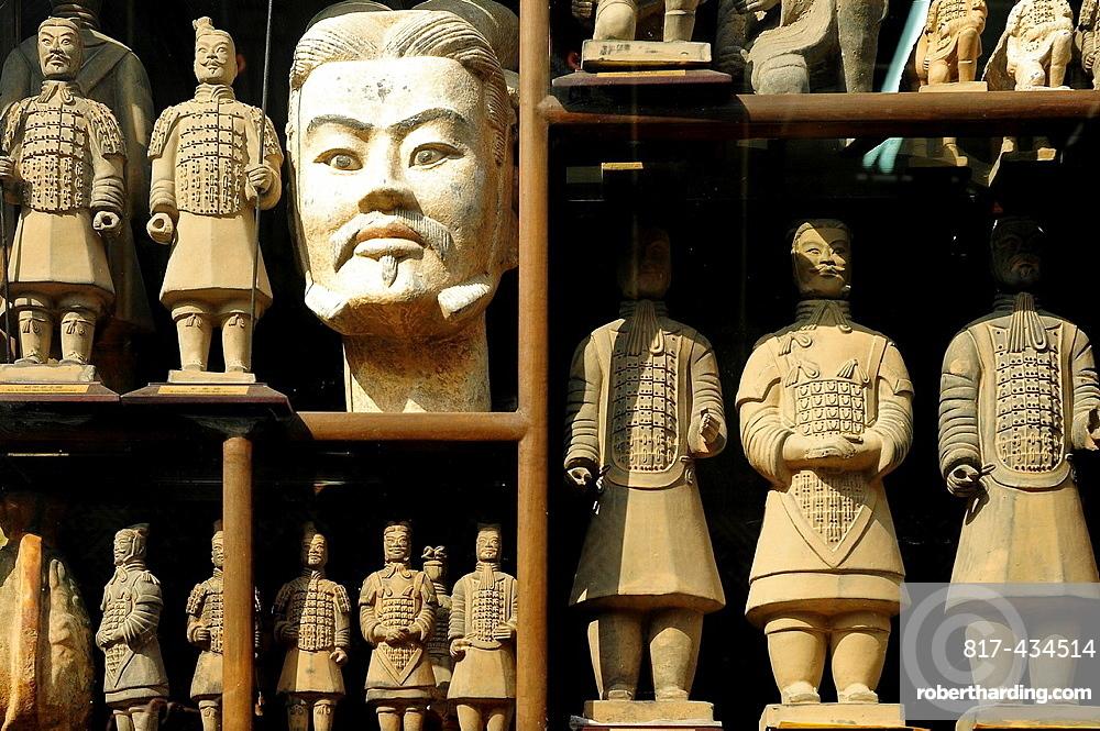 Warriors in an Antique shop, Luilichang street, Beijing, China, Asia