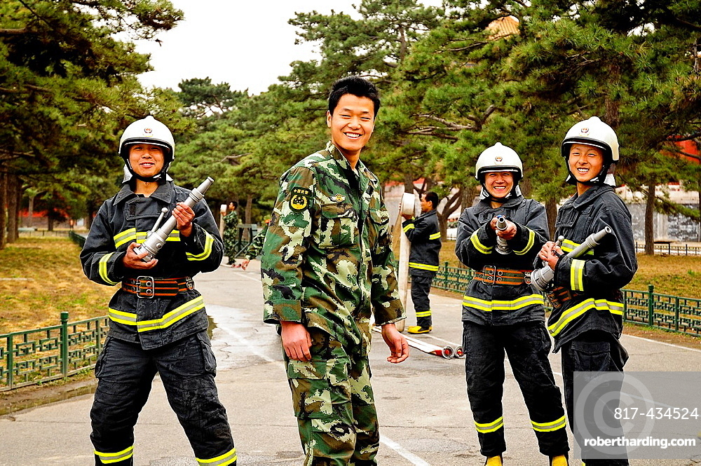 Firefighters inside the Forbidden City, Beijing, China, Asia