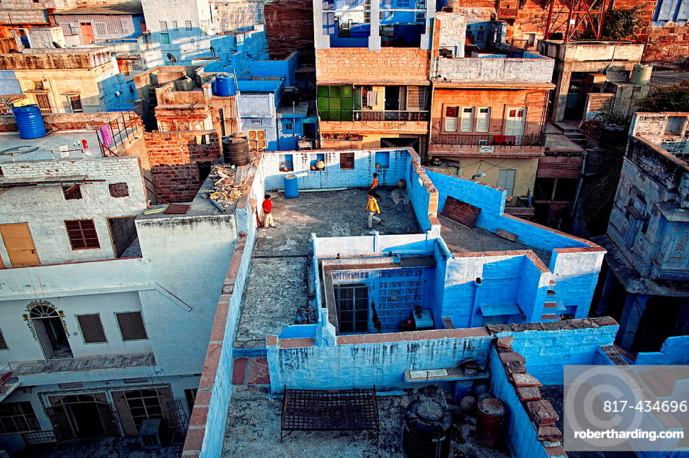 Children playing on a rooftop Jodhpur, Rajasthan, india