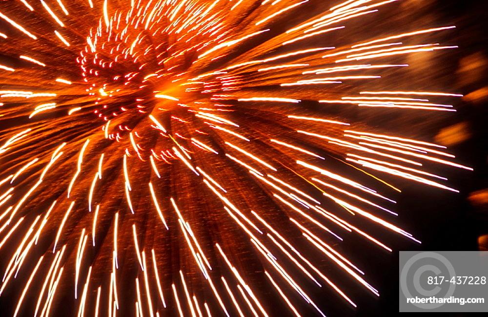 Midnight fireworks in the Turia park,Fallas festival,Valencia,Spain