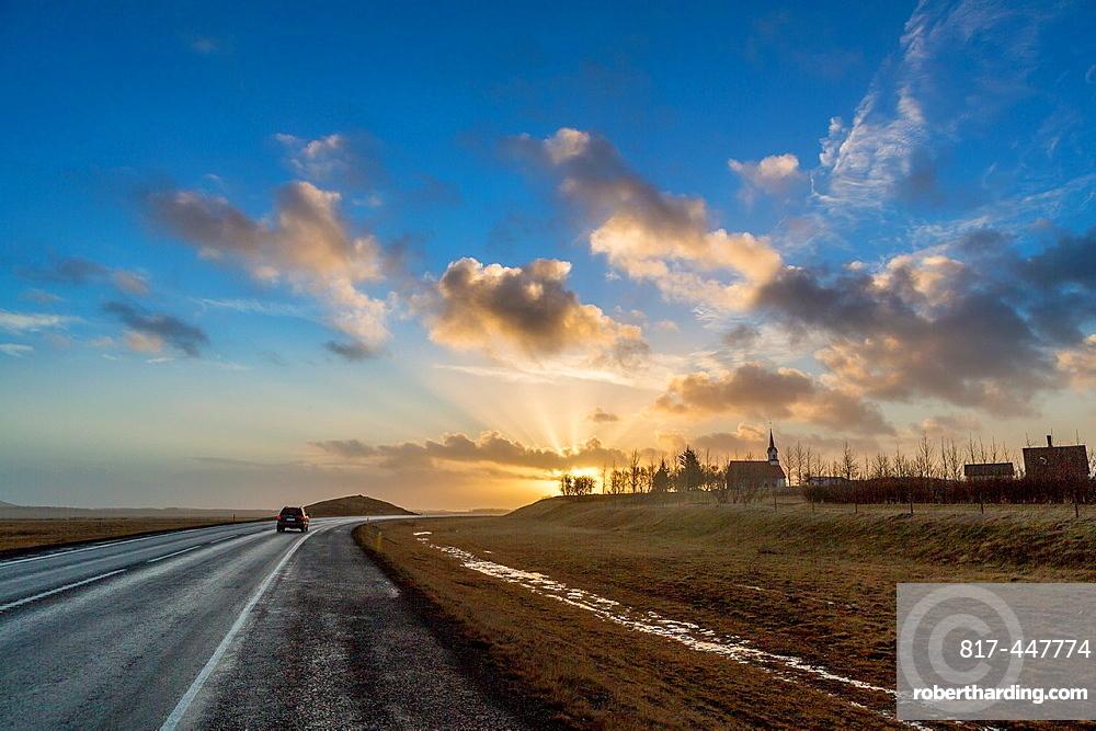 Winter sunset, Iceland.