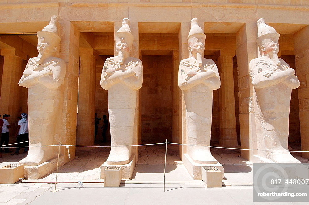 Stone statue of Queen Hatshepsut, Hatshepsut's temple, the focal point of the complex, Luxor (Thebes), Egypt, Africa.