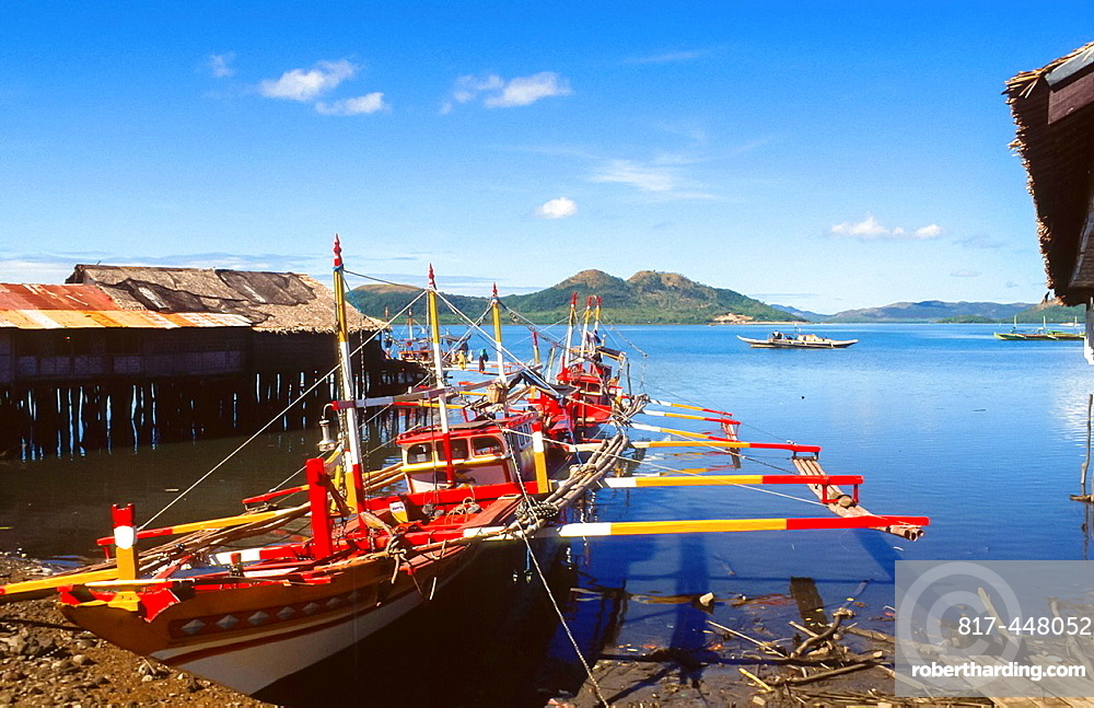 colourful banka at the beach of Coron at Busuanga island, Philipines