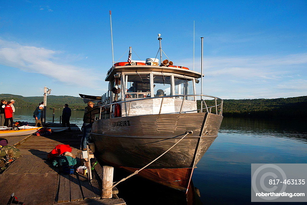 Passengers board the Voyageur II for passage to Isle Royale National Park at Grand Portage, Minnesota, United States of America.