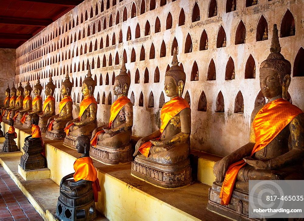 Buddhas at Sisaket Temple in Vientiane, Laos.